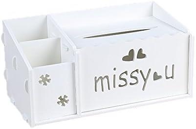 JUNGEN Caja de pañuelos para Decoración Hogar y Oficina Caja de Almacenamiento Caja de Tejido de Madera-Plástico Diseño Hueco, 26 * 13 * 10cm: Amazon.es: Hogar