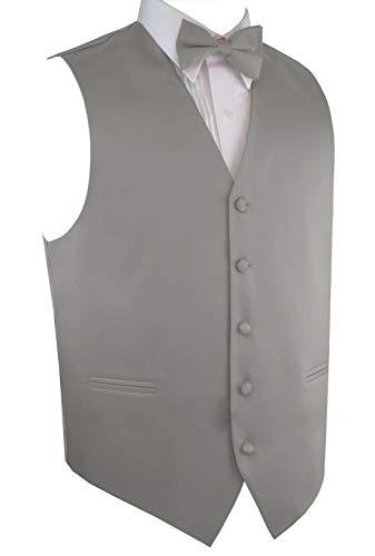 (Italian Design, Men's Tuxedo Vest, Bow-Tie & Hankie Set in Silver - 5XL)