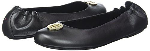 Tommy 990 Pearlized Ballerina Noir black Leather Ballerines Hilfiger Femme rSwar