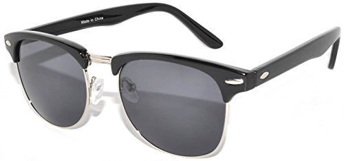 Stylish Classic Black-Silver Half Frame Sunglasses with Smoke Lens Retro