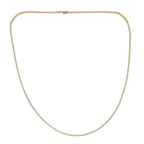 925 Sterling Silver Gold Tone Hip Hop Tennis Chain Necklace, For Men And Women, 20' 22' 24' 26' 28' 30'