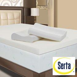 Serta 4-inch Memory Foam Mattress Topper with Two Bonus Contour Pillows King