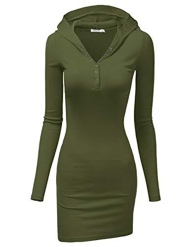Doublju Womens Long Sleeve Henley Neck Basic Hoodie Dress Olive Small