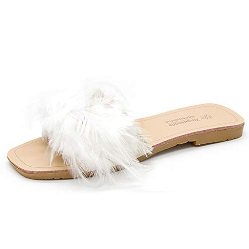 Fashion Colorful Feather Slippers for Women, Huazi2 Casual Open Toes Flat Shoes Loafers