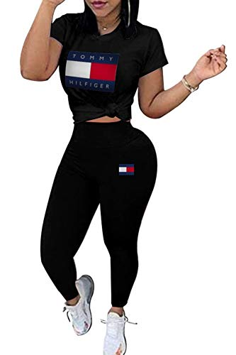 Womens Plus Size 2 Piece Outfits Letter Print Short Sleeve Pullover Top and Leggings Set Tracksuit Romper ()