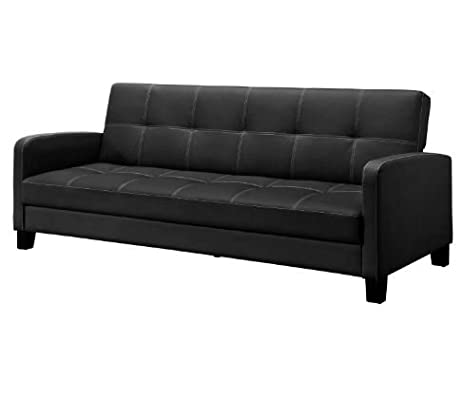 faux vanilla couch black ip convertible emily ameriwood industries leather futon