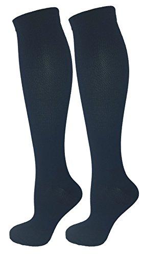 2 Pair Navy Blue Small/Medium Ladies Compression Socks, Moderate/Medium Compression 15-20 mmHg. Therapeutic, Occupational, Travel & Flight Knee-High Socks. Womens and Mens Hosiery.