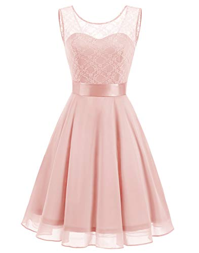 BeryLove Women's Short Floral Lace Bridesmaid Dress A-line Swing Party Dress BLP7005PinkL