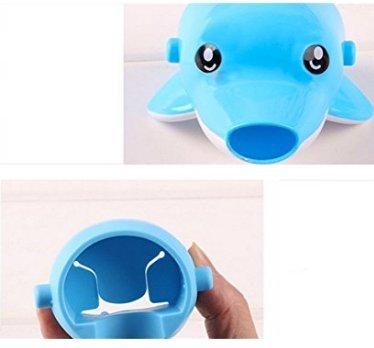 Amoy.B Super niedliche und praktische Kinder-Waschbecken Wasserhahn-Verlä ngerung *1, Blau/Delfin, 1