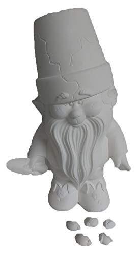 """Cracked Pot Garden Gnome with Ladybugs 11"""" Ceramic Bisque, Ready to Paint"""