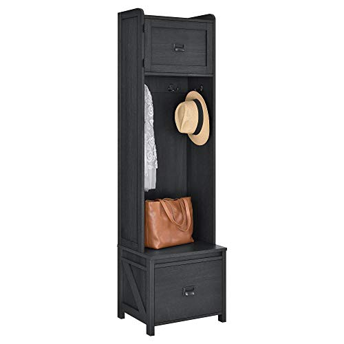 System Build 7546886COM Farmington Entryway Storage Cabinet, Black Oak