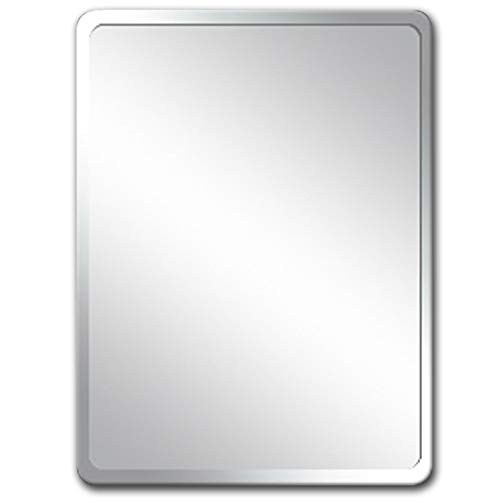 ZXXX Frameless Beveled Wall Mirror Rectangle Mirrored Glass Panel Vanity, Bedroom, Or - Bathroom Horizontal Pivoting Mirrors