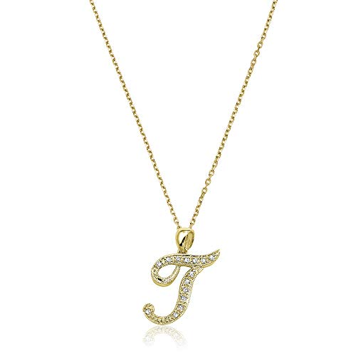 - Jewels By Erika Script T-Y 14K Gold and Diamond Initial Pendant - Yellow Gold