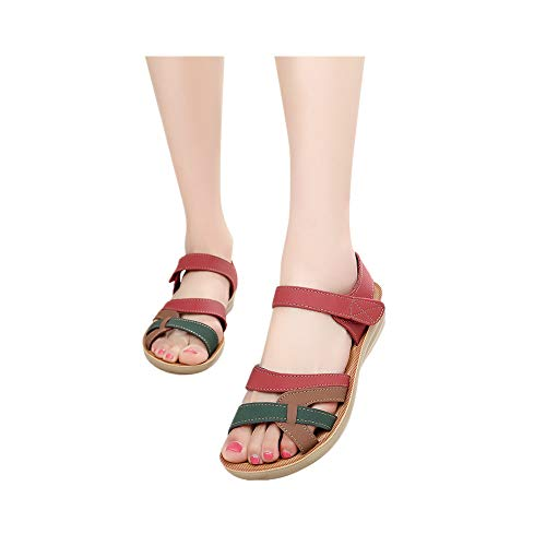 (CCOOfhhc Women's Summer FlatsSandals Retro Casual Shoes Leather Sandals Wedges Comfort Beach Shoes Red)