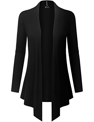 Cashmere Blazer Sweater - Because I Love You Women's Open Front Drape Hem Lightweight Cardigan - Large - Black