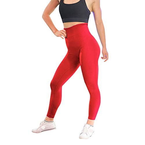 hositor Yoga Pants, Women's Casual Solid Color Twill Hip Exercise Fitness Running Yoga Pants Red