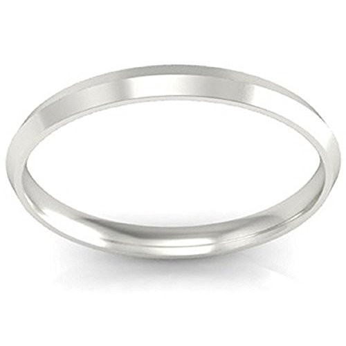 14K White Gold Over 925 Sterling Silver 2mm Simple Comfort Fit Knife-Edge Wedding Band Ring (5.5)