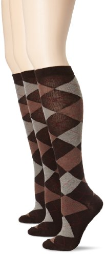 HUE Women's 3-Pack Argyle Knee Socks,Espresso,One Size