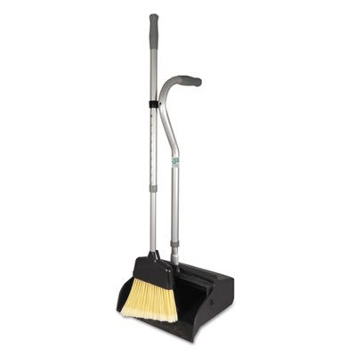 UNGEDTBG - Ergo Dust Pan With Broom, 12quot; Wide, 45quot; High, Metal, Black/silver
