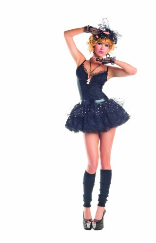 [Party King Material Pop Star Women's 4 Piece Costume Dress Set, Black, Medium] (Womens Material Pop Star Costumes)