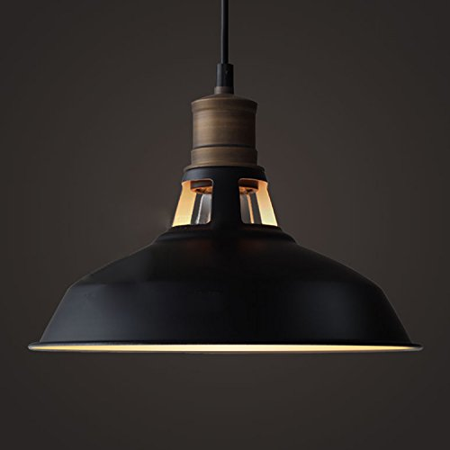 Antique Lighting Hanging - YOBO Lighting Antique Industrial Barn Hanging Pendant Light with Metal Dome Shade, Matte Black
