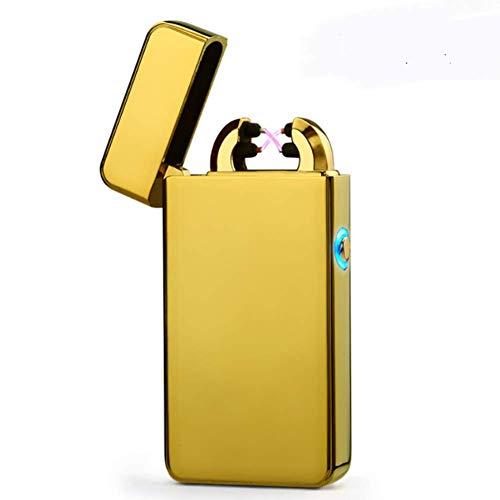 Plasma Flush - NOMSOCR Double Cross Arc Plasma Lighter USB Rechargeable Windproof Flameless Electric Cigarette Lighter for Men (Yellow)