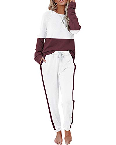 Eurivicy Women's Solid Sweatsuit Set 2 Piece Long Sleeve Pullover and Drawstring Sweatpants Sport Outfits Sets