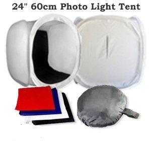 CanadianStudio Product Photography 24' Photo Tent Light Cube with front and top opening & black/white/red/blue velvet material backdrops DC-60