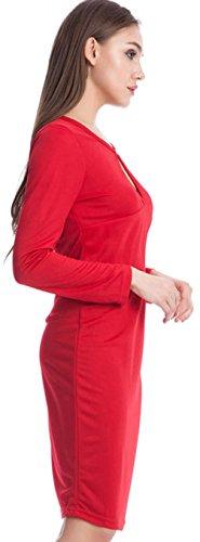 Wenseny Mujer Vestido Moda Manga Larga Cadera Del Paquete Lápiz Bodycon Negocios Vestido Rojo