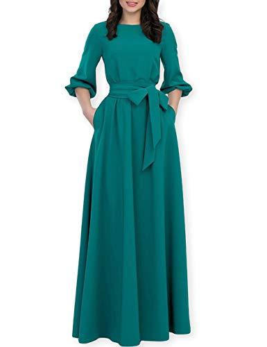 (AOOKSMERY Women Elegance Audrey Hepburn Style Round Neck 3/4 Puff Sleeve Puffy Swing Maxi Dress with Belt (Dark Green Long, Medium))