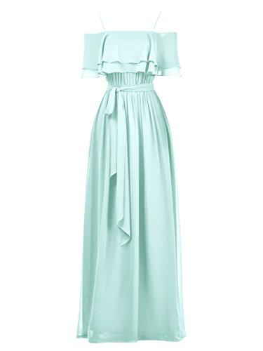 Alicepub Une Ligne Robe De Bal Robe De Demoiselle D'honneur En Mousseline De Soie Robe De Soirée De Fête De Mariage Longue Bleu Clair