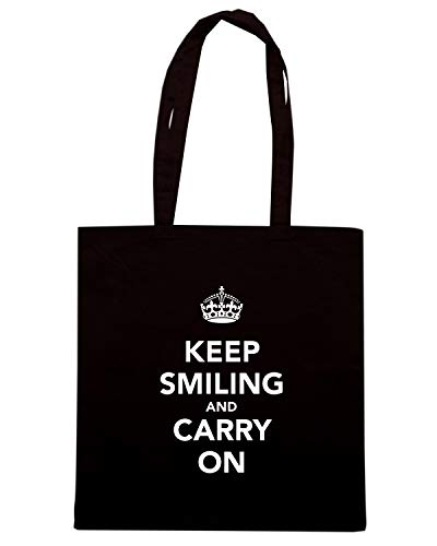 SMILING AND Shopper Borsa KEEP TKC0083 CALM Nera ON CARRY a7wWRX