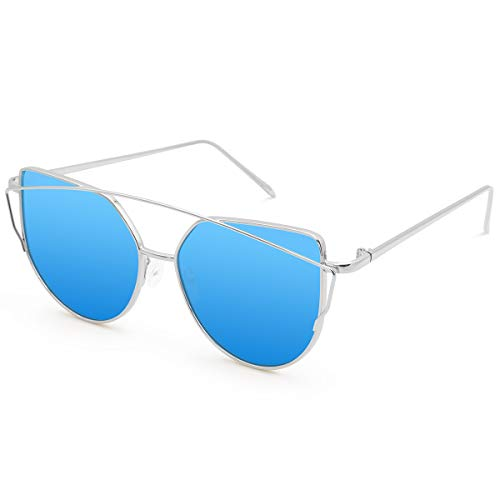 - Livhò Sunglasses for Women, Cat Eye Mirrored Flat Lenses Metal Frame Sunglasses UV400 (Silver Dark Blue)