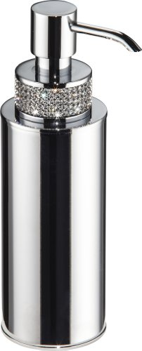 Swarovski Crystal Desk Accessories - Carmen Countertop Soap Dispenser Set with Swarovski Crystal, Brass Polished Chrome, Table Mounted, Bathroom Accessories, Made in Spain (European Brand)