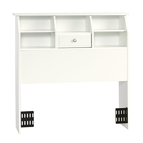 Sauder 411905 Shoal Creek Bookcase Headboard, Twin, Soft White -