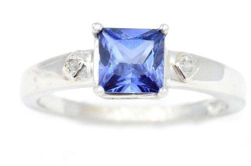Simulated Tanzanite & Diamond Princess Cut Ring .925 Sterling Silver Rhodium Finish