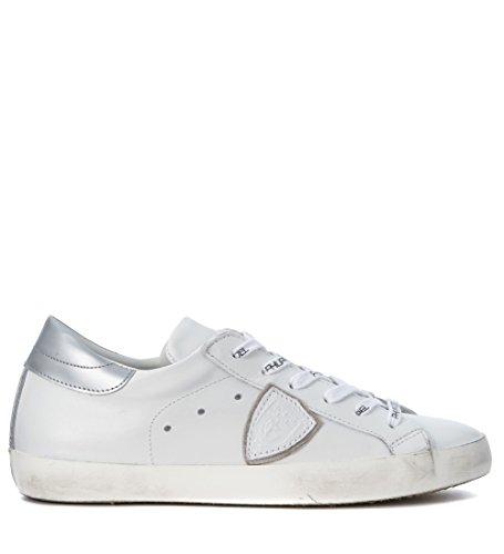Sneakers Philippe Model Classic en piel blanca y plata Blanco