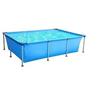 Piscina cuadrada Sekey, piscina de jardín de verano, piscina desmontables de metal 258 x 179 x 66 cm – Azul