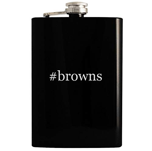 - #browns - 8oz Hashtag Hip Drinking Alcohol Flask, Black