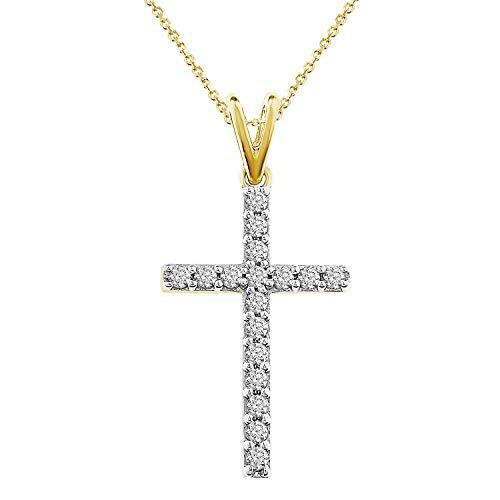 (Eternal Bliss 1/4 cttw Round Diamond Ladies's Cross Pendant with 18