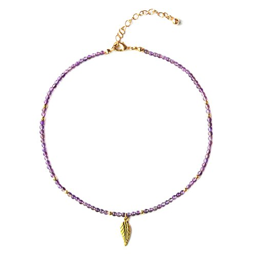 MHZ JEWELS Gold Amethyst Beads Choker Necklace with Leaf Pendant February Birthstone Quartz Crystal Beaded Chokers Necklaces for Women Girls