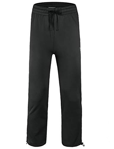 Baleaf Boy's Fleece Pants Youth Zip Pockets Warm Up Sweatpants Black Size M