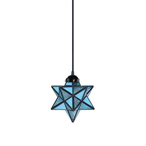 - KIRIN Tiffany Crystal Star Lampshade Pendant Light Retro Style Lamp Chandelier Ceiling Hanging Drop Fixture for Cafe Loft Bar Living Study Room Corridor Aisle Light Blue 7.87