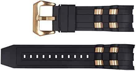 Vicdason for Invicta Pro Diver Watch Bands Replacement Strap with Bukcle Metal Inserts - Black Rubber Silicone Invicta Watch Strap