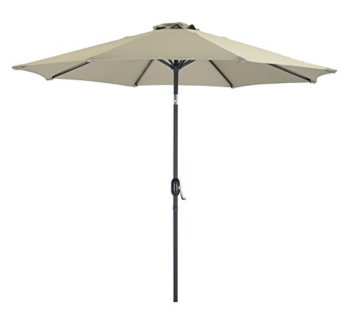 Patio Frames Umbrella (Patio Watcher 9-Ft Aluminum Patio Umbrella with Push Button Tilt and Crank, 250 GSM Fabric,8 Ribs, Tan)