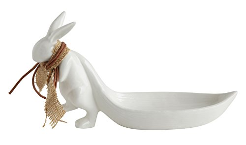 Creative Co-op White Stoneware Rabbit Pulling Leaf Shaped Dish