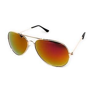 My Shades - Classic Aviator Sunglasses Silver Mirror Color Mirror Retro Metal Teardrop Fits Teens Adults Men Women (Gold Frame, Fuchsia)