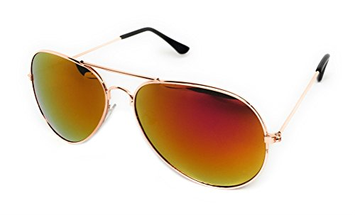 My Shades - Classic Aviator Sunglasses Silver Mirror Color Mirror Retro Metal Teardrop Fits Teens Adults Men Women (Gold Frame, - Shape Face Sunglasses Fit