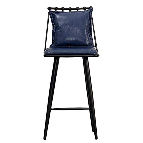 (CAIJUN Bar Stool Iron Frame PU Fabric with Backrest Ergonomic Design Waterproof Leisure Nordic Style, 3 Colors Dual-use (Color : Blue, Size :)