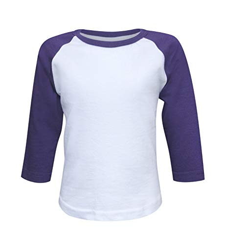 ILTEX Kids & Youth Baseball Raglan T-Shirt 3/4 Sleeve Infant Toddler Youth Athletic Jersey Sports Casual (20+ Colors) (Y-Small, White/Purple)]()